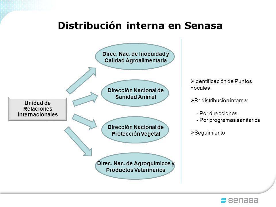 Distribución interna en Senasa Identificación de Puntos Focales Redistribución interna: - Por direcciones - Por programas sanitarios Seguimiento Unidad de Relaciones Internacionales Dirección Nacional de Protección Vegetal Direc.