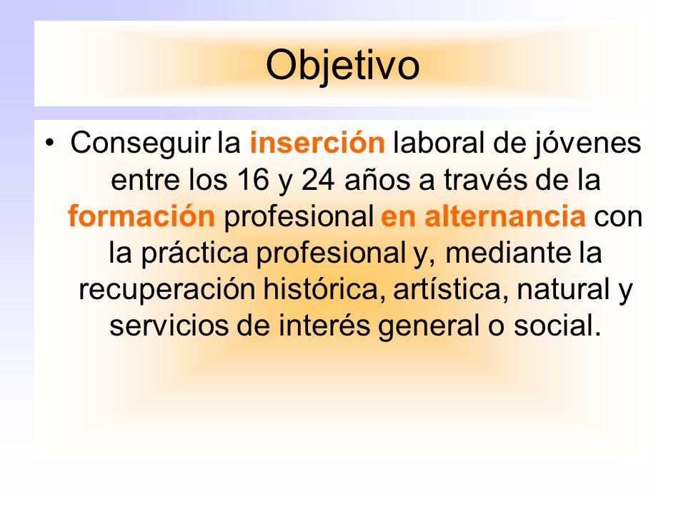 Objetivo Conseguir la inserción laboral de jóvenes entre los 16 y 24 años a través de la formación profesional en alternancia con la práctica profesional y, mediante la recuperación histórica, artística, natural y servicios de interés general o social.