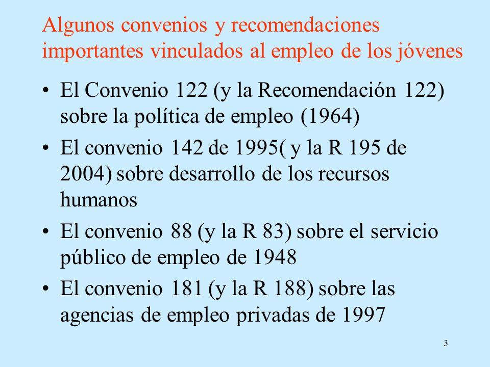 3 Algunos convenios y recomendaciones importantes vinculados al empleo de los jóvenes El Convenio 122 (y la Recomendación 122) sobre la política de em