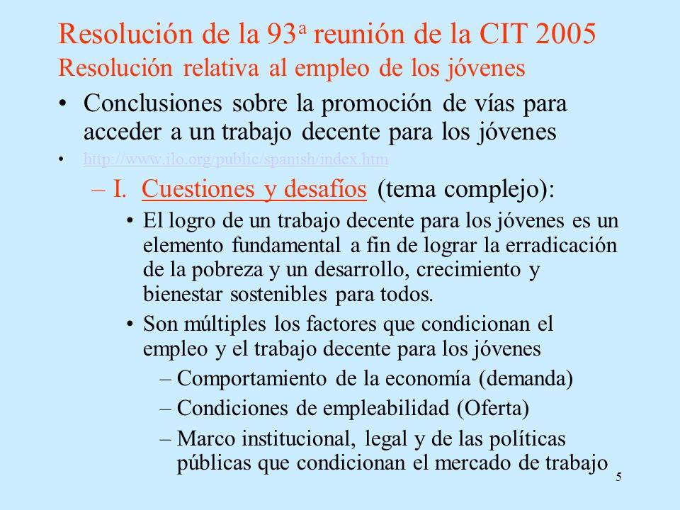 5 Resolución de la 93 a reunión de la CIT 2005 Resolución relativa al empleo de los jóvenes Conclusiones sobre la promoción de vías para acceder a un