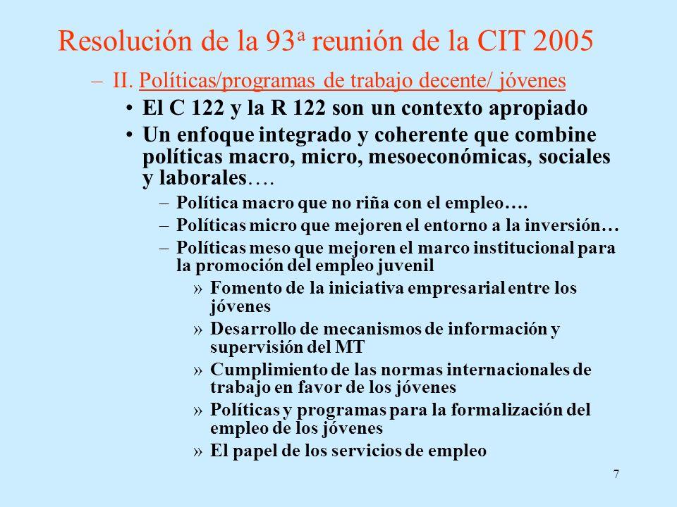 7 Resolución de la 93 a reunión de la CIT 2005 –II. Políticas/programas de trabajo decente/ jóvenes El C 122 y la R 122 son un contexto apropiado Un e