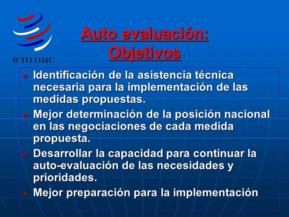 Auto evaluación: Objetivos Identificación de la asistencia técnica necesaria para la implementación de las medidas propuestas. Identificación de la as