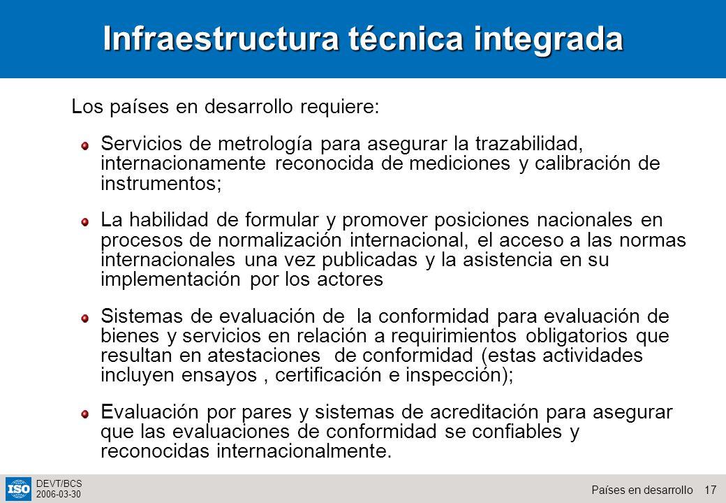 17Países en desarrollo DEVT/BCS 2006-03-30 Infraestructura técnica integrada Los países en desarrollo requiere: Servicios de metrología para asegurar