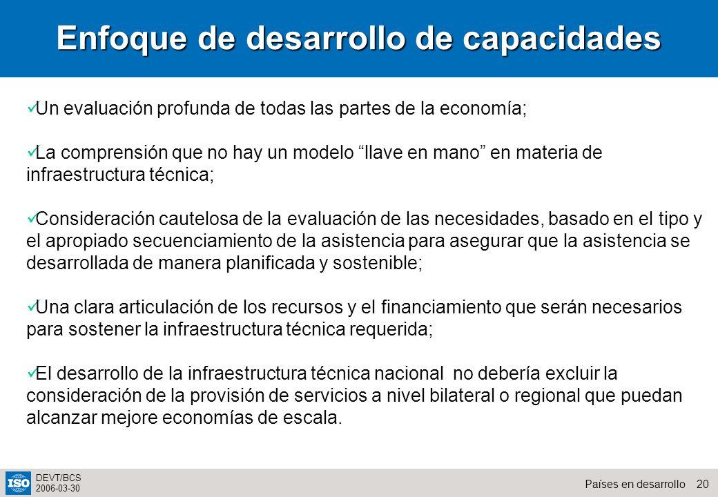 20Países en desarrollo DEVT/BCS 2006-03-30 Enfoque de desarrollo de capacidades Un evaluación profunda de todas las partes de la economía; La comprens