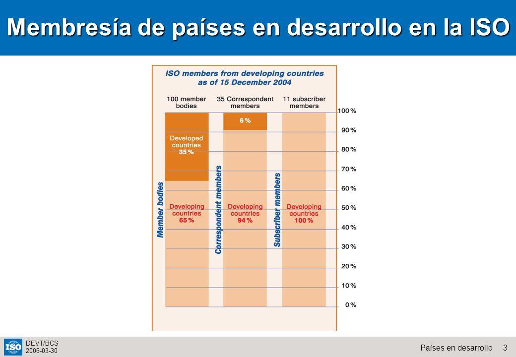 14Países en desarrollo DEVT/BCS 2006-03-30 Cursos de formación para todos los miembros de ISO Cursos regulares en Ginebra tres veces al año Cursos a medida pueden ser organizados sobre la base de recuperación de los costos Información puede ser bajada del website de la ISO (portal para trabajo técnico) ISO Servicios de formación