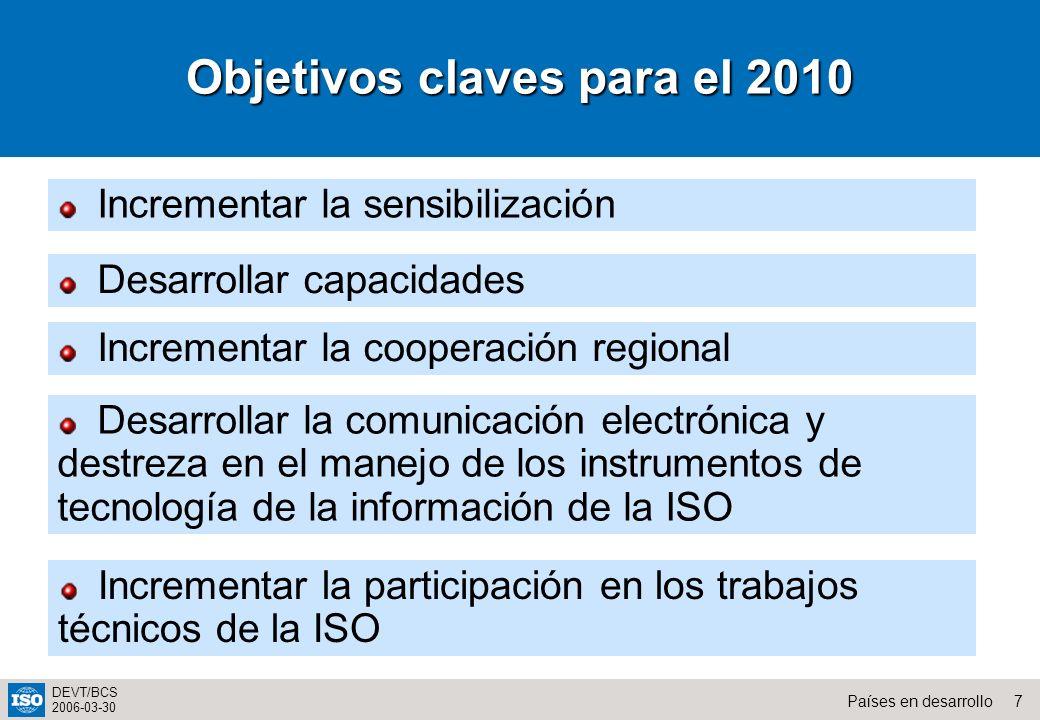 7Países en desarrollo DEVT/BCS 2006-03-30 Incrementar la sensibilización Desarrollar capacidades Incrementar la cooperación regional Desarrollar la co