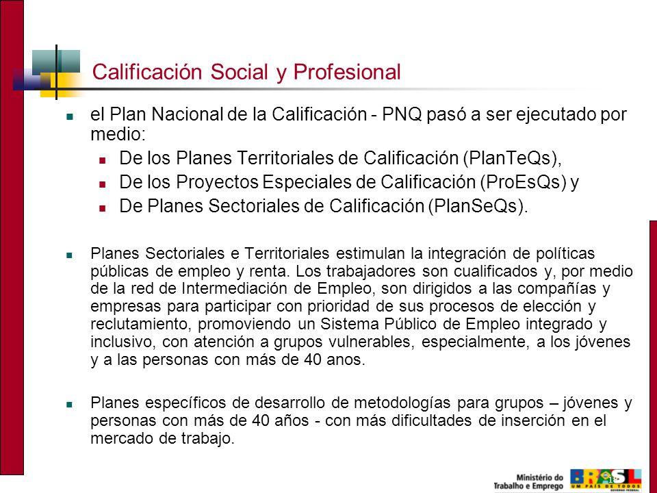 18 Calificación Social y Profesional el Plan Nacional de la Calificación - PNQ pasó a ser ejecutado por medio: De los Planes Territoriales de Calificación (PlanTeQs), De los Proyectos Especiales de Calificación (ProEsQs) y De Planes Sectoriales de Calificación (PlanSeQs).