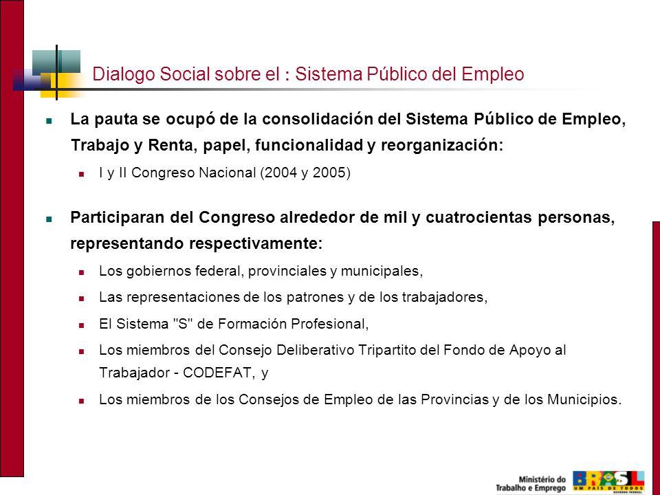 2 Dialogo Social sobre el : Sistema Público del Empleo La pauta se ocupó de la consolidación del Sistema Público de Empleo, Trabajo y Renta, papel, fu