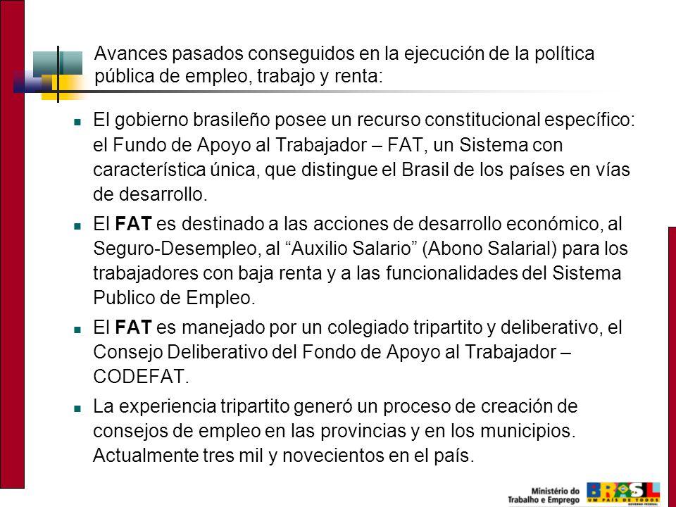 3 Avances pasados conseguidos en la ejecución de la política pública de empleo, trabajo y renta: El gobierno brasileño posee un recurso constitucional