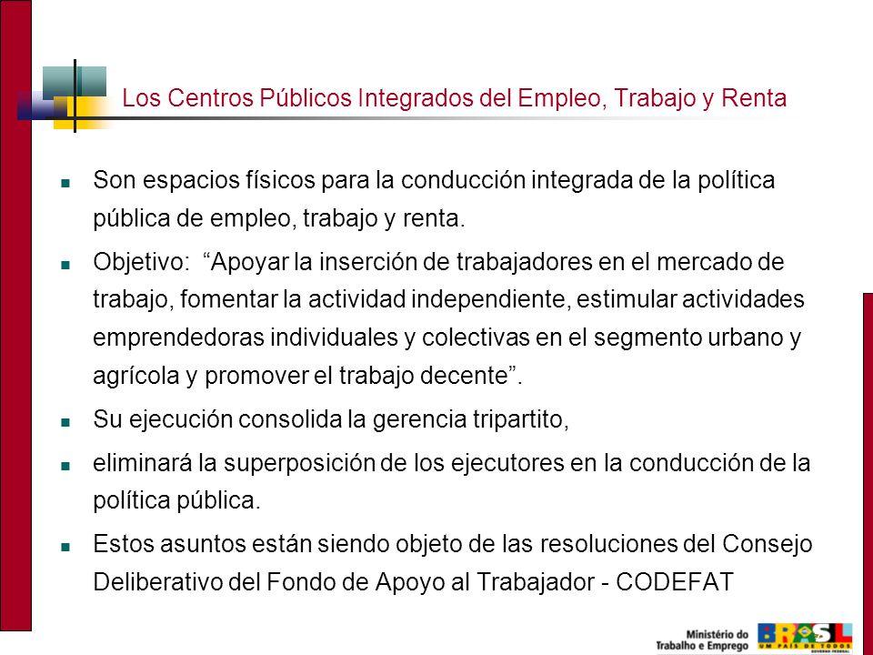 7 Los Centros Públicos Integrados del Empleo, Trabajo y Renta Son espacios físicos para la conducción integrada de la política pública de empleo, trabajo y renta.