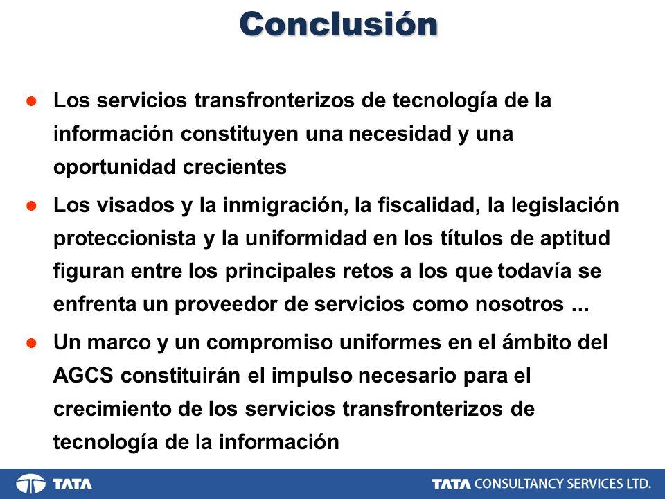Conclusión Los servicios transfronterizos de tecnología de la información constituyen una necesidad y una oportunidad crecientes Los visados y la inmi