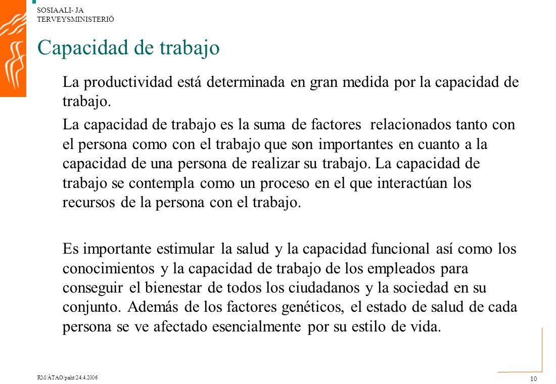 SOSIAALI- JA TERVEYSMINISTERIÖ RM/ÄTAO/paht/24.4.2006 10 Capacidad de trabajo La productividad está determinada en gran medida por la capacidad de trabajo.