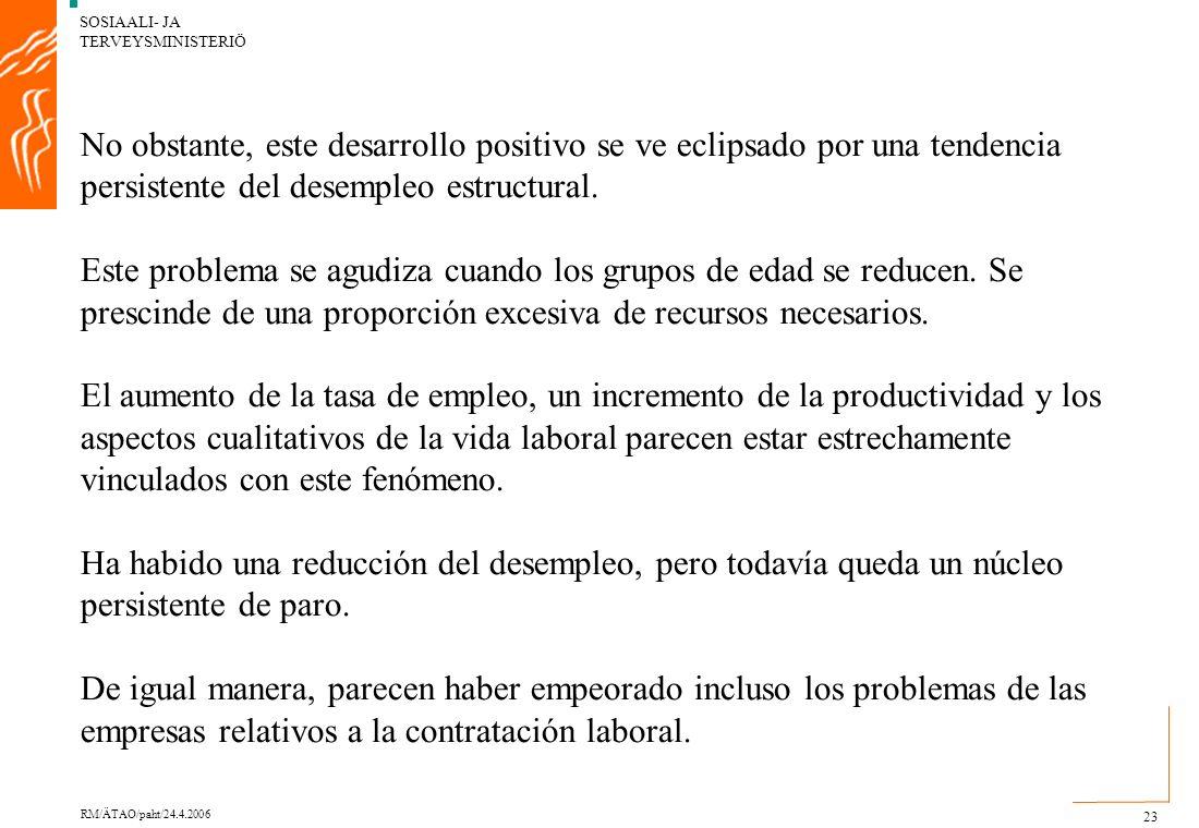 SOSIAALI- JA TERVEYSMINISTERIÖ RM/ÄTAO/paht/24.4.2006 23 No obstante, este desarrollo positivo se ve eclipsado por una tendencia persistente del desempleo estructural.