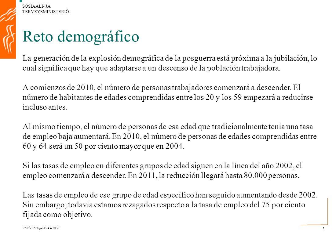 SOSIAALI- JA TERVEYSMINISTERIÖ RM/ÄTAO/paht/24.4.2006 3 Reto demográfico La generación de la explosión demográfica de la posguerra está próxima a la jubilación, lo cual significa que hay que adaptarse a un descenso de la población trabajadora.