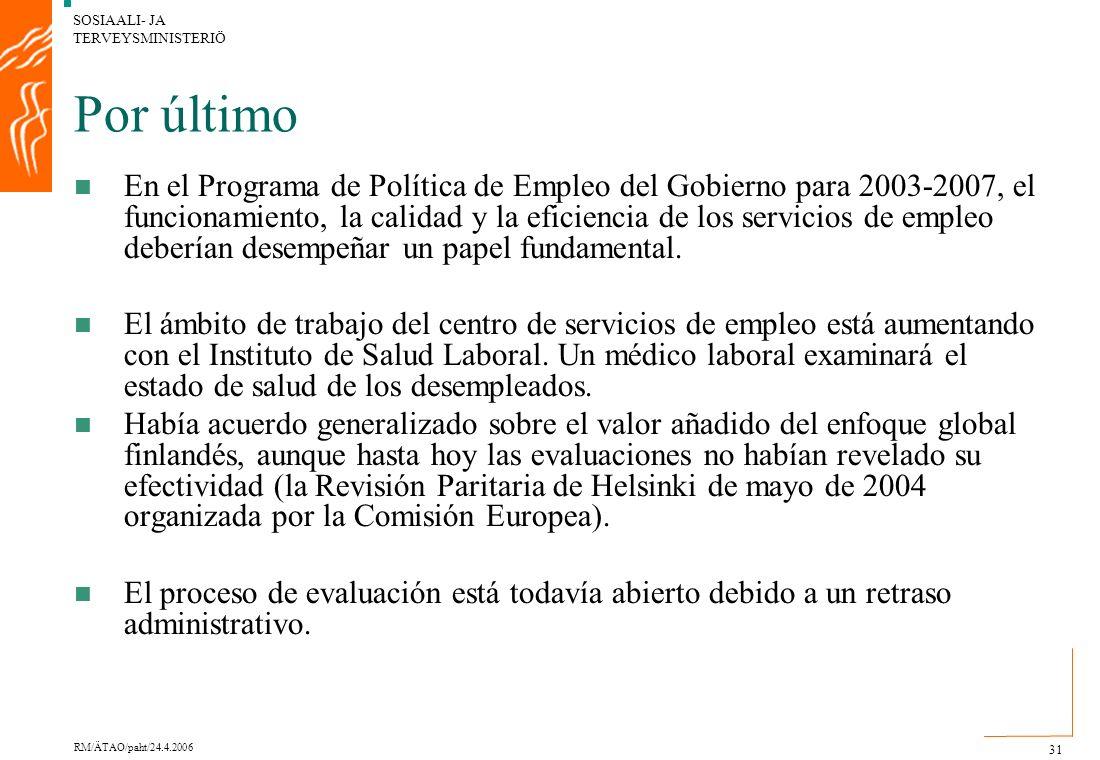 SOSIAALI- JA TERVEYSMINISTERIÖ RM/ÄTAO/paht/24.4.2006 31 Por último En el Programa de Política de Empleo del Gobierno para 2003-2007, el funcionamiento, la calidad y la eficiencia de los servicios de empleo deberían desempeñar un papel fundamental.