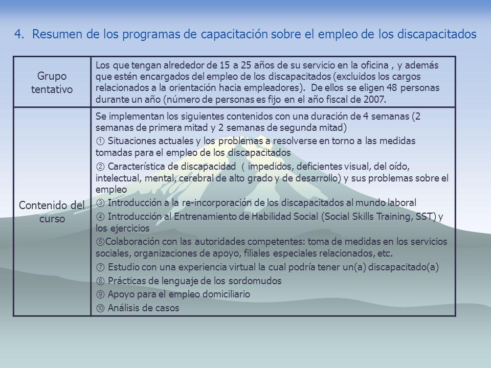 4. Resumen de los programas de capacitación sobre el empleo de los discapacitados Grupo tentativo Los que tengan alrededor de 15 a 25 años de su servi