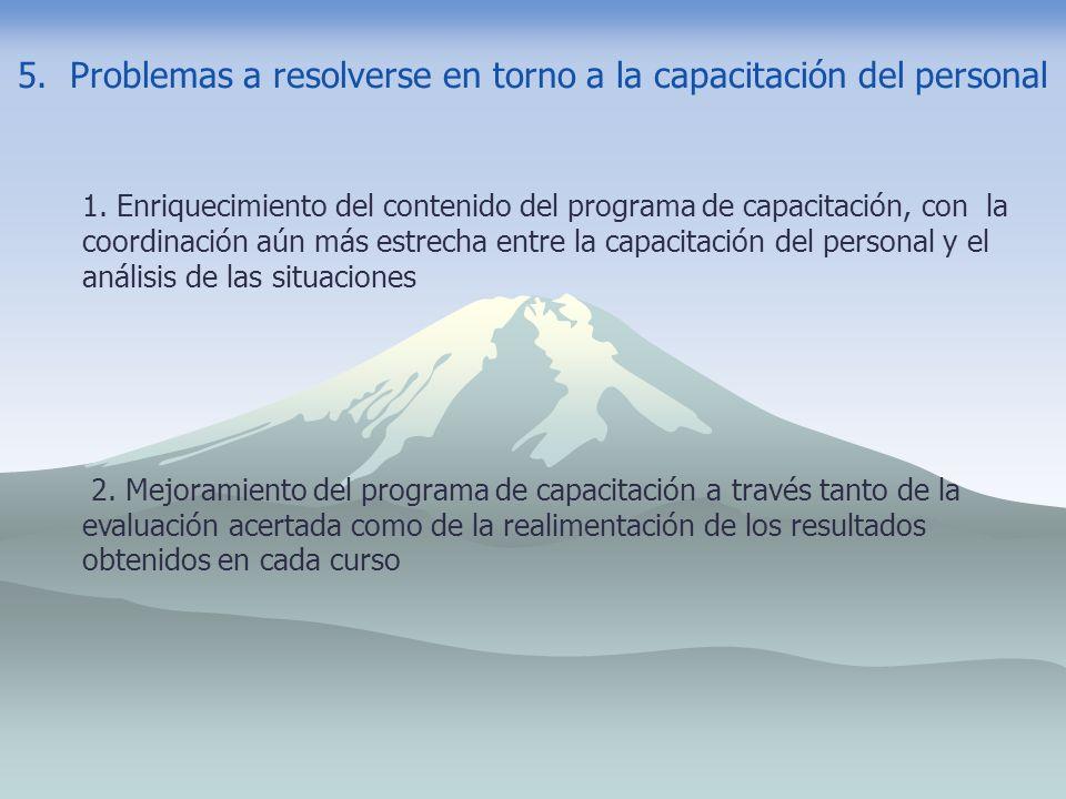 5. Problemas a resolverse en torno a la capacitación del personal 1. Enriquecimiento del contenido del programa de capacitación, con la coordinación a