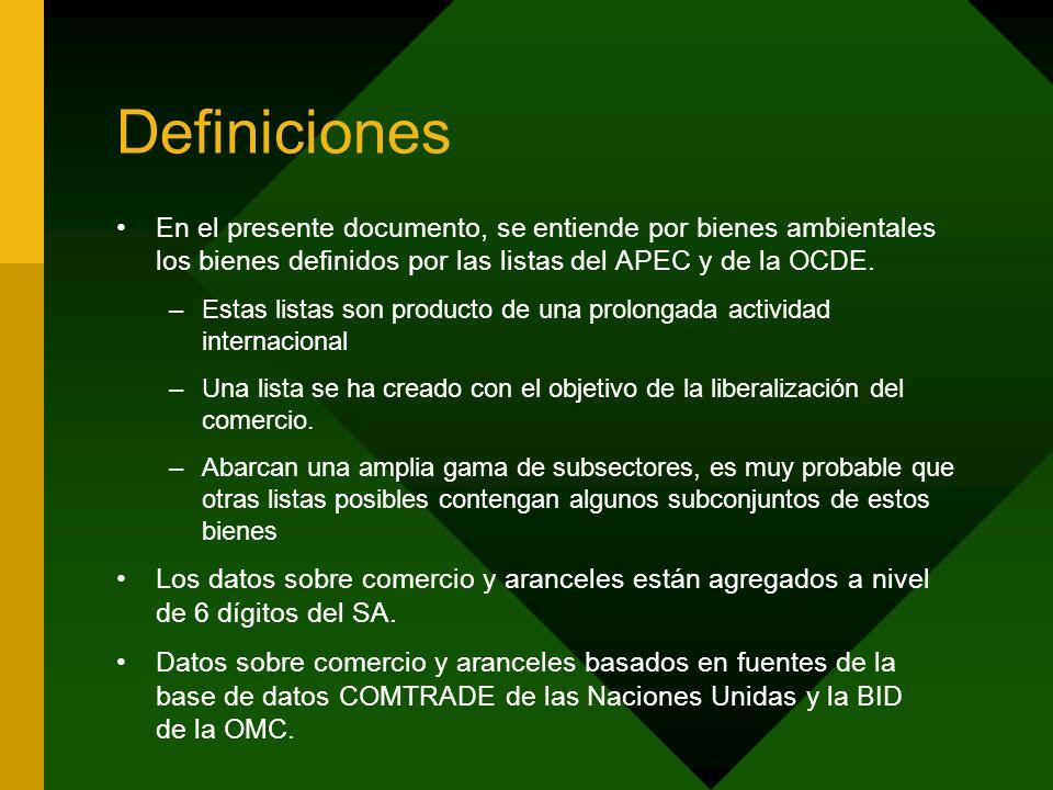 Definiciones En el presente documento, se entiende por bienes ambientales los bienes definidos por las listas del APEC y de la OCDE. –Estas listas son