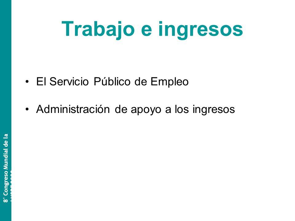 Trabajo e ingresos El Servicio Público de Empleo Administración de apoyo a los ingresos 8 º Congreso Mundial de la AMSPE 2009
