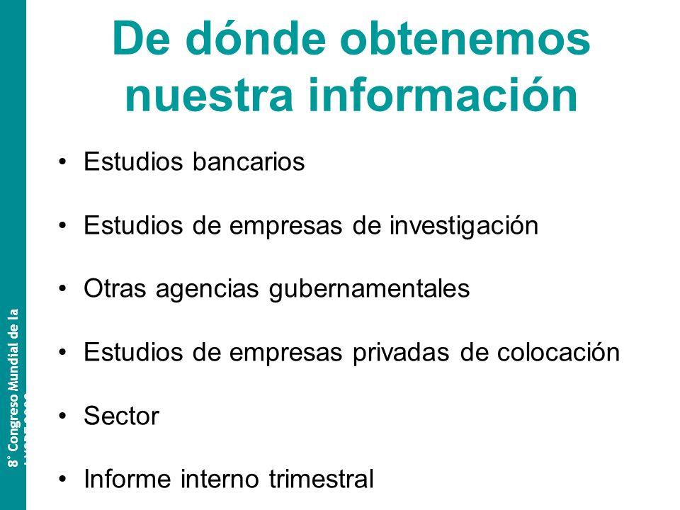 De dónde obtenemos nuestra información Estudios bancarios Estudios de empresas de investigación Otras agencias gubernamentales Estudios de empresas privadas de colocación Sector Informe interno trimestral 8 º Congreso Mundial de la AMSPE 2009