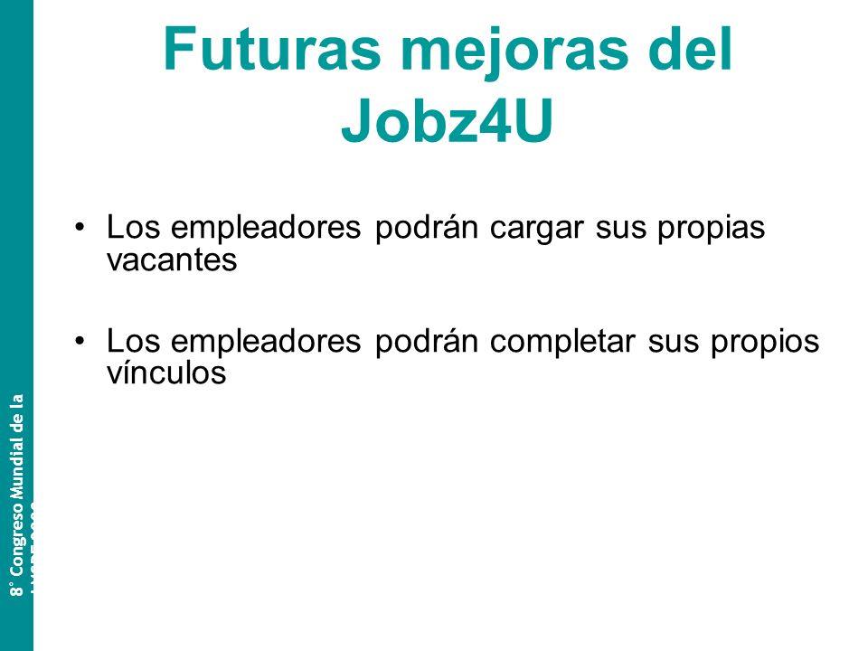 Futuras mejoras del Jobz4U Los empleadores podrán cargar sus propias vacantes Los empleadores podrán completar sus propios vínculos 8 º Congreso Mundial de la AMSPE 2009