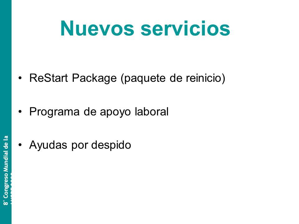 Nuevos servicios ReStart Package (paquete de reinicio) Programa de apoyo laboral Ayudas por despido 8 º Congreso Mundial de la AMSPE 2009