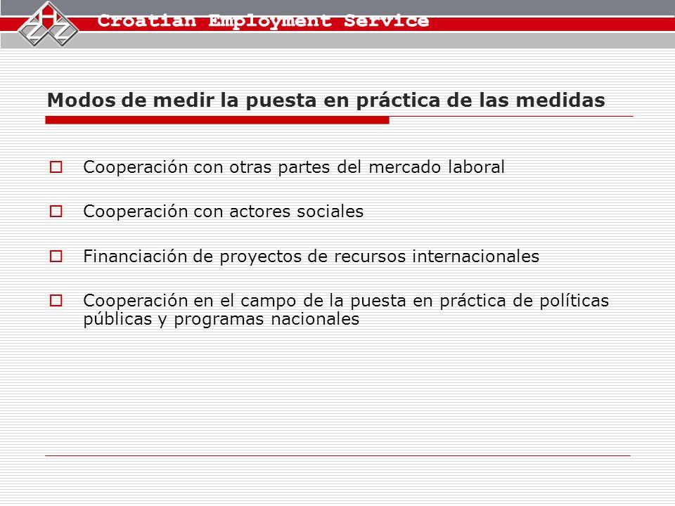 Modos de medir la puesta en práctica de las medidas Cooperación con otras partes del mercado laboral Cooperación con actores sociales Financiación de proyectos de recursos internacionales Cooperación en el campo de la puesta en práctica de políticas públicas y programas nacionales