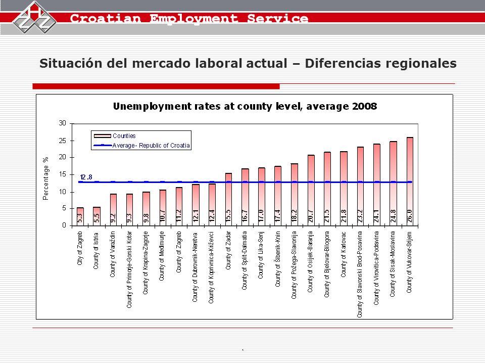 Situación del mercado laboral actual – Diferencias regionales.