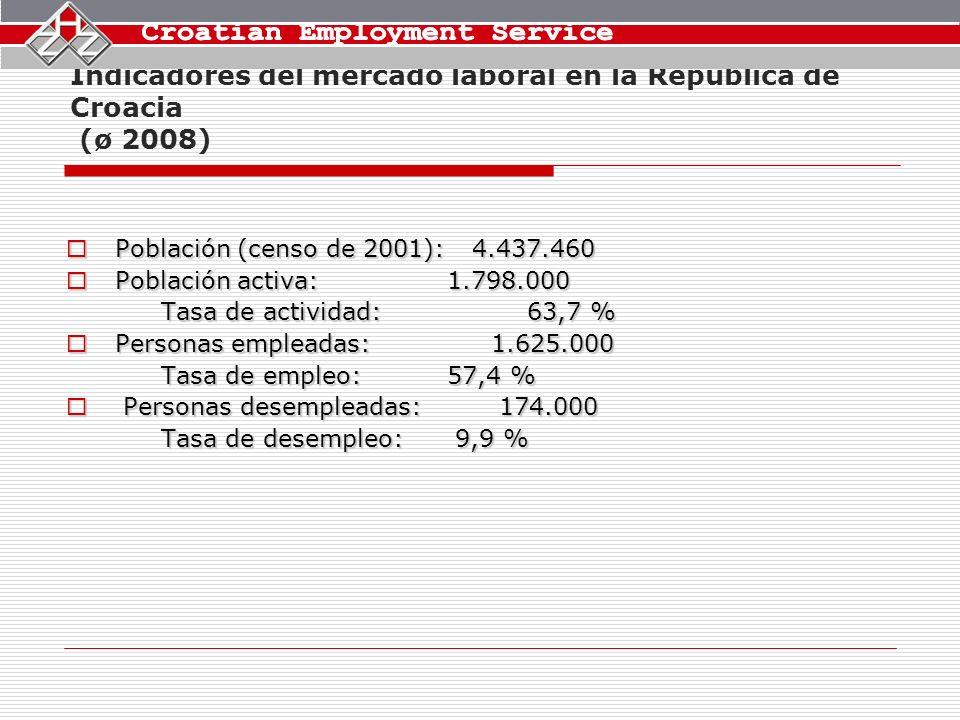 Indicadores del mercado laboral en la República de Croacia (ø 2008) Población (censo de 2001): 4.437.460 Población (censo de 2001): 4.437.460 Población activa: 1.798.000 Población activa: 1.798.000 Tasa de actividad: 63,7 % Personas empleadas: 1.625.000 Personas empleadas: 1.625.000 Tasa de empleo: 57,4 % Personas desempleadas: 174.000 Personas desempleadas: 174.000 Tasa de desempleo: 9,9 %