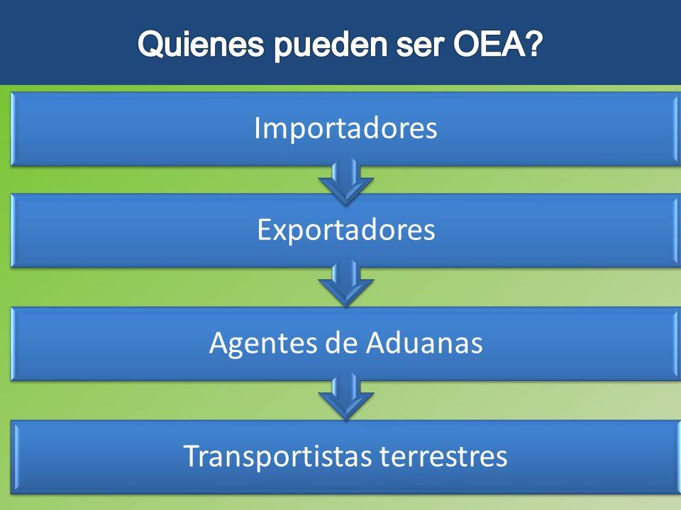 Transportistas terrestres Agentes de Aduanas Exportadores Importadores