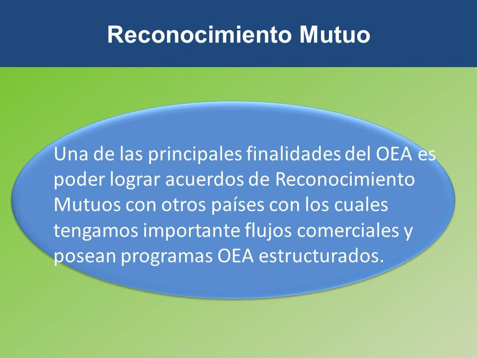Una de las principales finalidades del OEA es poder lograr acuerdos de Reconocimiento Mutuos con otros países con los cuales tengamos importante flujo
