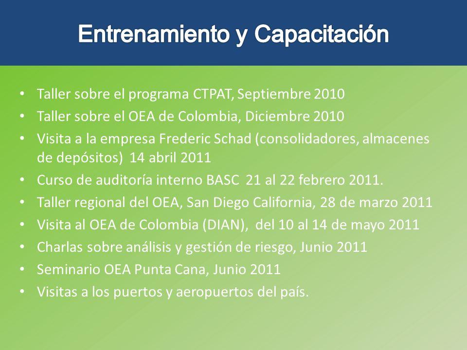 Taller sobre el programa CTPAT, Septiembre 2010 Taller sobre el OEA de Colombia, Diciembre 2010 Visita a la empresa Frederic Schad (consolidadores, al