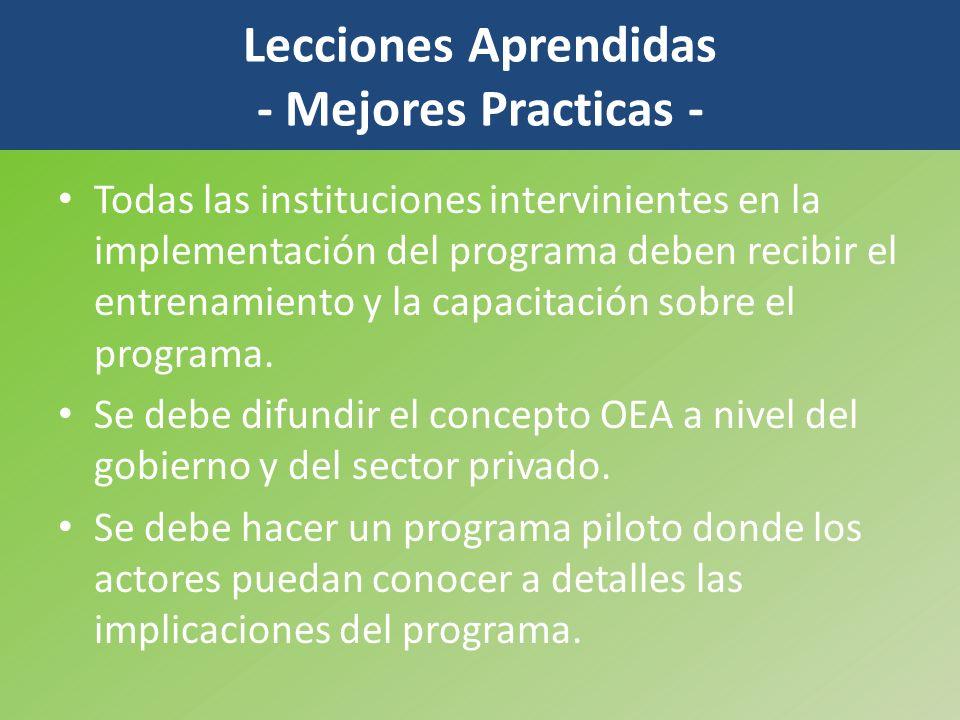 Todas las instituciones intervinientes en la implementación del programa deben recibir el entrenamiento y la capacitación sobre el programa. Se debe d