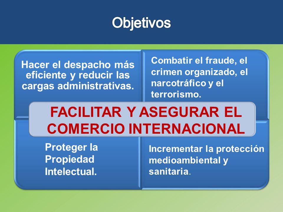 Hacer el despacho más eficiente y reducir las cargas administrativas. Combatir el fraude, el crimen organizado, el narcotráfico y el terrorismo. Prote