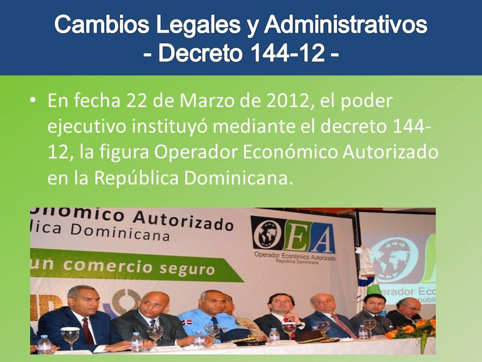 En fecha 22 de Marzo de 2012, el poder ejecutivo instituyó mediante el decreto 144- 12, la figura Operador Económico Autorizado en la República Domini