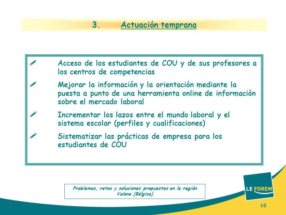 10 3. Actuación temprana Acceso de los estudiantes de COU y de sus profesores a los centros de competencias Mejorar la información y la orientación me