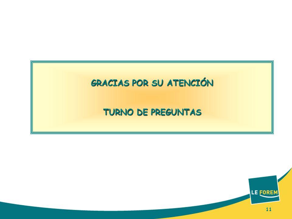 11 GRACIAS POR SU ATENCIÓN TURNO DE PREGUNTAS 11