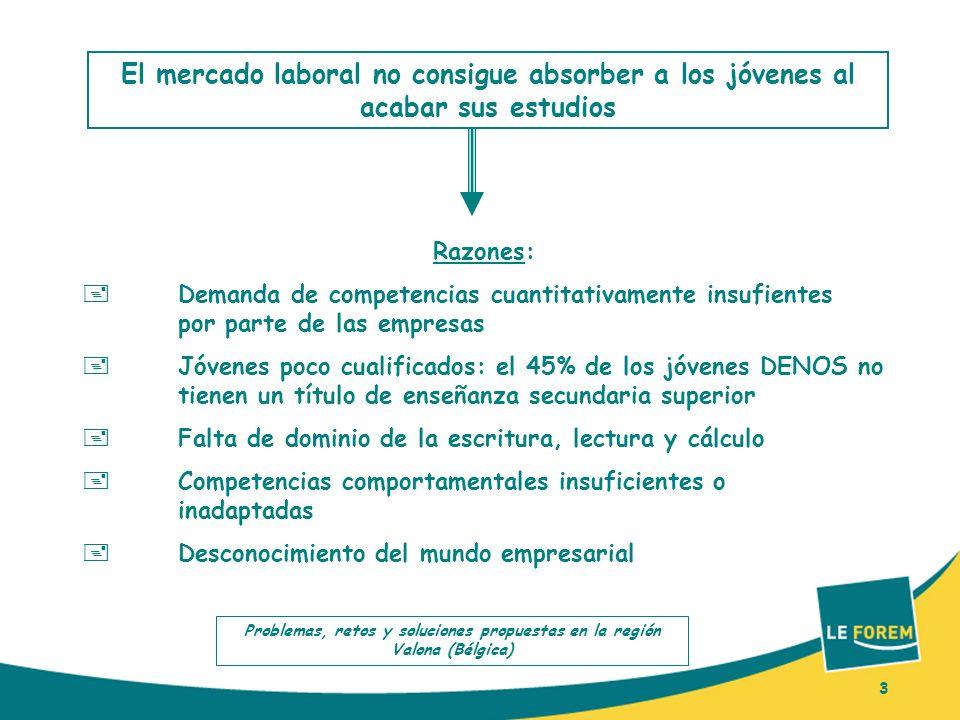 3 El mercado laboral no consigue absorber a los jóvenes al acabar sus estudios Razones: Demanda de competencias cuantitativamente insufientes por part
