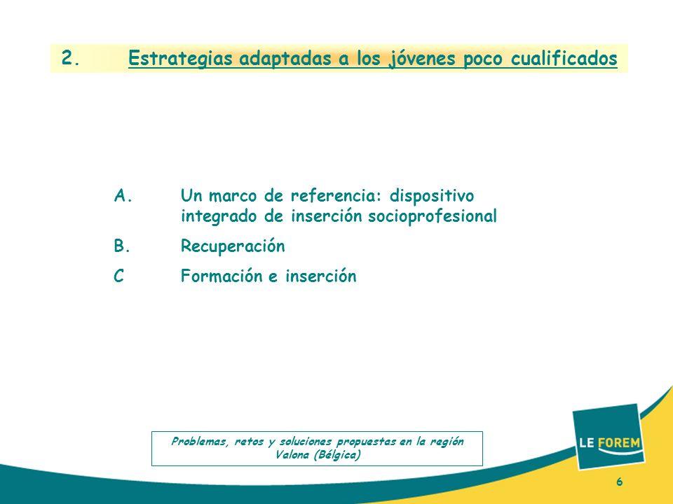 6 2. Estrategias adaptadas a los jóvenes poco cualificados A.Un marco de referencia: dispositivo integrado de inserción socioprofesional B.Recuperació