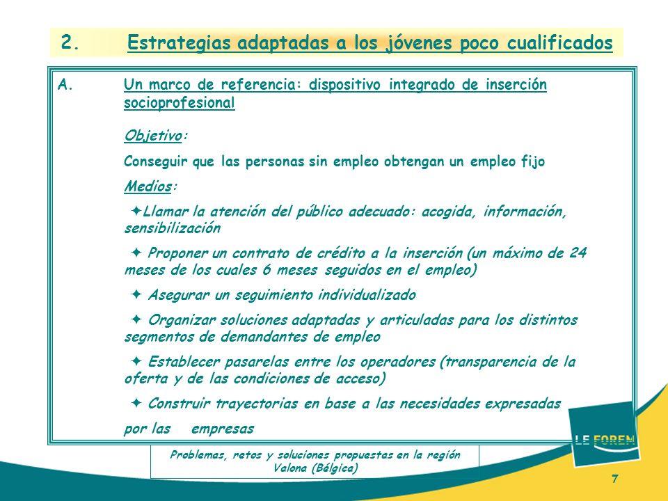 7 2. Estrategias adaptadas a los jóvenes poco cualificados A.Un marco de referencia: dispositivo integrado de inserción socioprofesional Objetivo: Con