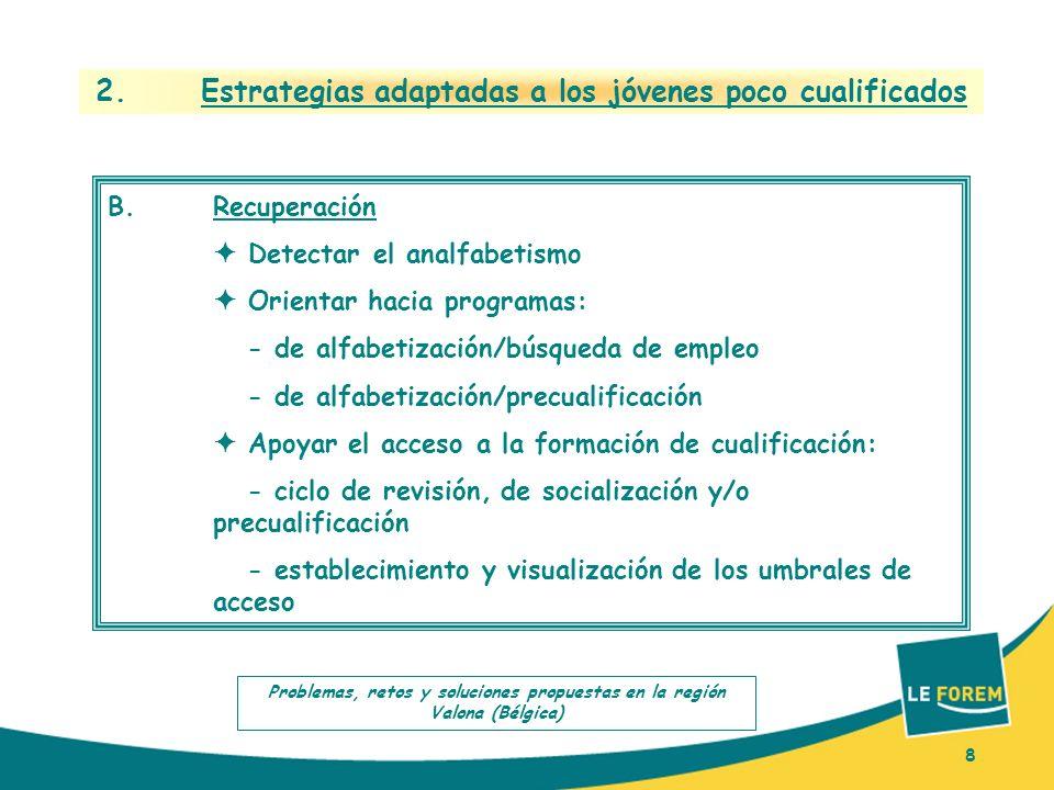 8 2. Estrategias adaptadas a los jóvenes poco cualificados B.Recuperación Detectar el analfabetismo Orientar hacia programas: - de alfabetización/búsq