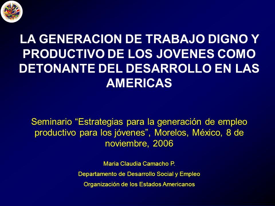 LA GENERACION DE TRABAJO DIGNO Y PRODUCTIVO DE LOS JOVENES COMO DETONANTE DEL DESARROLLO EN LAS AMERICAS Seminario Estrategias para la generación de empleo productivo para los jóvenes, Morelos, México, 8 de noviembre, 2006 Maria Claudia Camacho P.
