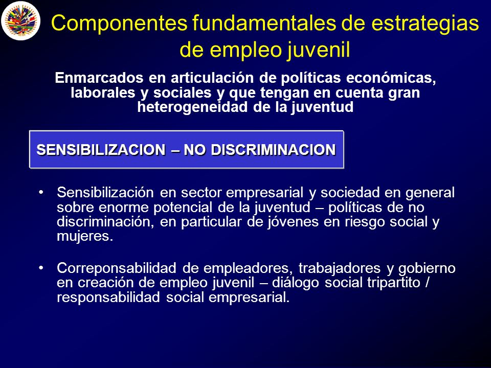 SENSIBILIZACION – NO DISCRIMINACION Sensibilización en sector empresarial y sociedad en general sobre enorme potencial de la juventud – políticas de no discriminación, en particular de jóvenes en riesgo social y mujeres.