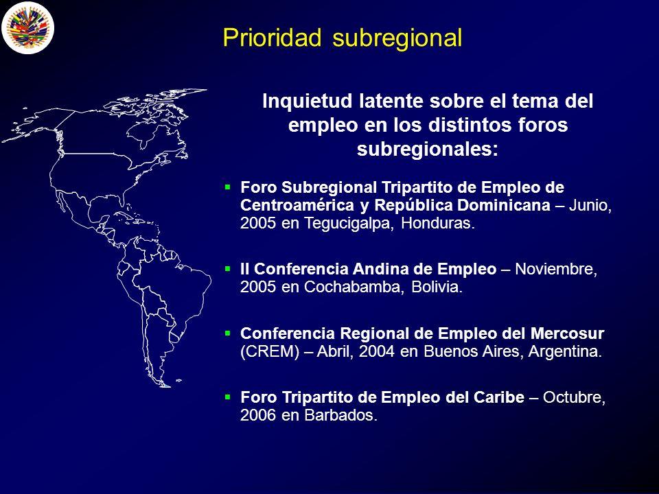 Inquietud latente sobre el tema del empleo en los distintos foros subregionales: Foro Subregional Tripartito de Empleo de Centroamérica y República Dominicana – Junio, 2005 en Tegucigalpa, Honduras.