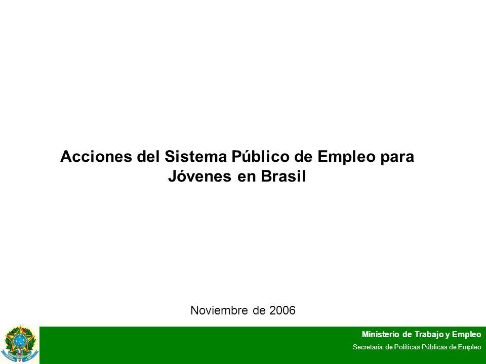 Ministerio de Trabajo y Empleo Secretaria de Políticas Públicas de Empleo Acciones del Sistema Público de Empleo para Jóvenes en Brasil Noviembre de 2006
