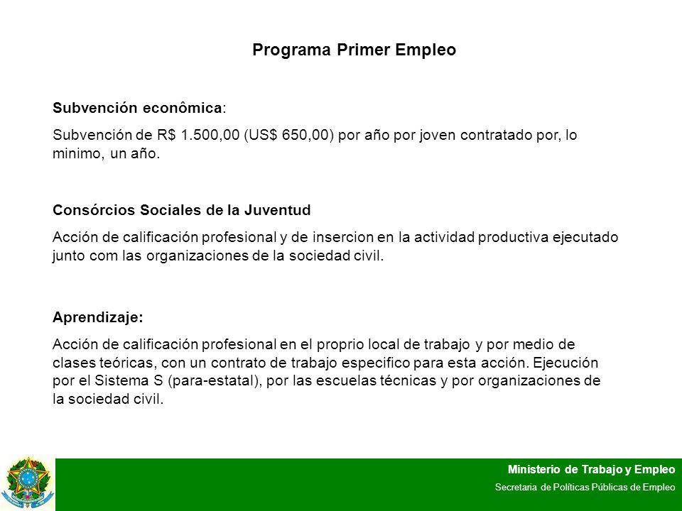 Ministerio de Trabajo y Empleo Secretaria de Políticas Públicas de Empleo Programa Primer Empleo Subvención econômica: Subvención de R$ 1.500,00 (US$ 650,00) por año por joven contratado por, lo minimo, un año.