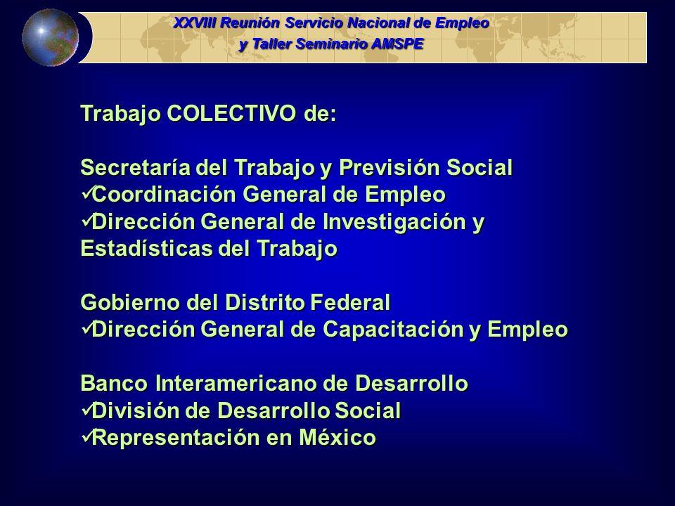 Trabajo COLECTIVO de: Secretaría del Trabajo y Previsión Social Coordinación General de Empleo Coordinación General de Empleo Dirección General de Inv
