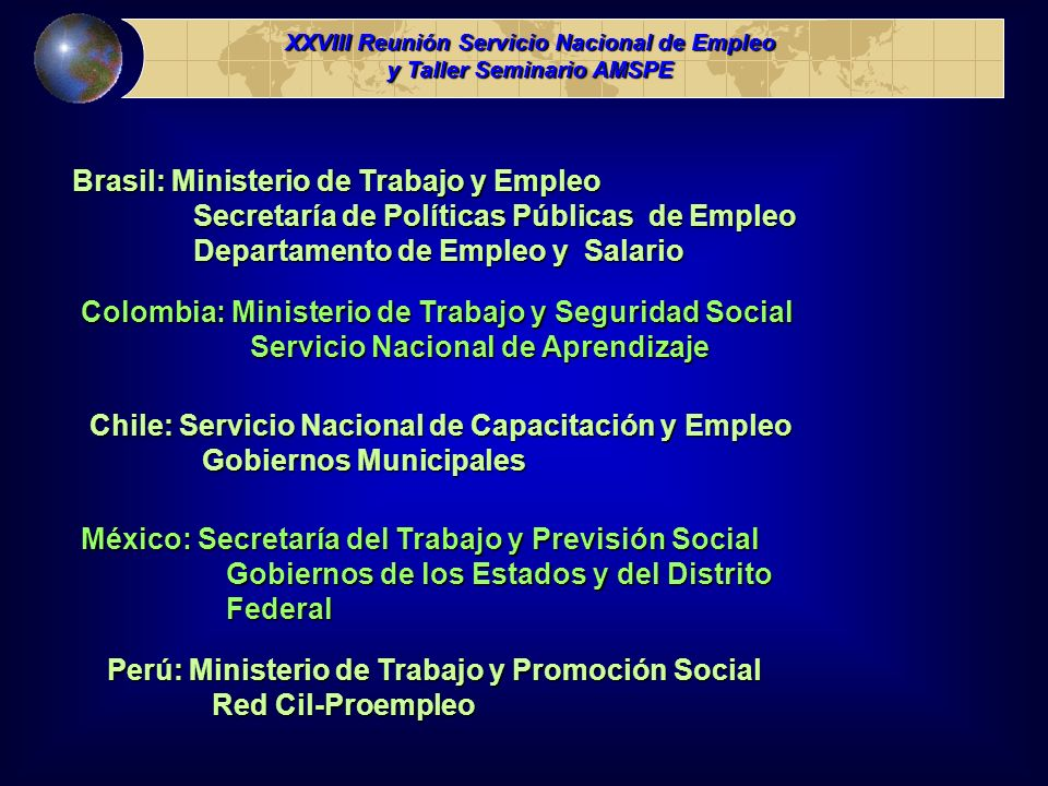 Brasil: Ministerio de Trabajo y Empleo Secretaría de Políticas Públicas de Empleo Secretaría de Políticas Públicas de Empleo Departamento de Empleo y
