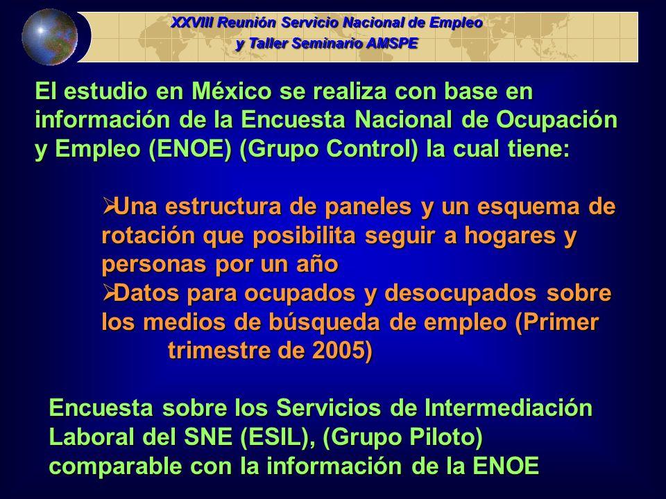 El estudio en México se realiza con base en información de la Encuesta Nacional de Ocupación y Empleo (ENOE) (Grupo Control) la cual tiene: Una estruc
