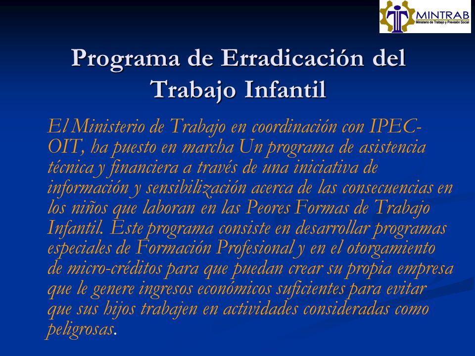 Programa de Erradicación del Trabajo Infantil El Ministerio de Trabajo en coordinación con IPEC- OIT, ha puesto en marcha Un programa de asistencia té